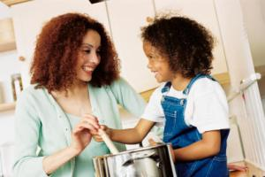 mother cooking with child