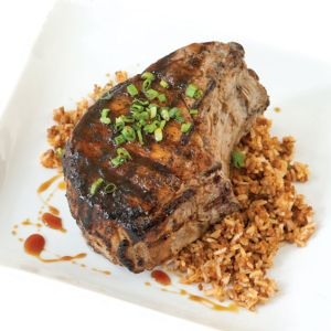 Double-Cut Pork Chop and Dirty Rice