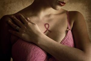 IWoman in pink bra