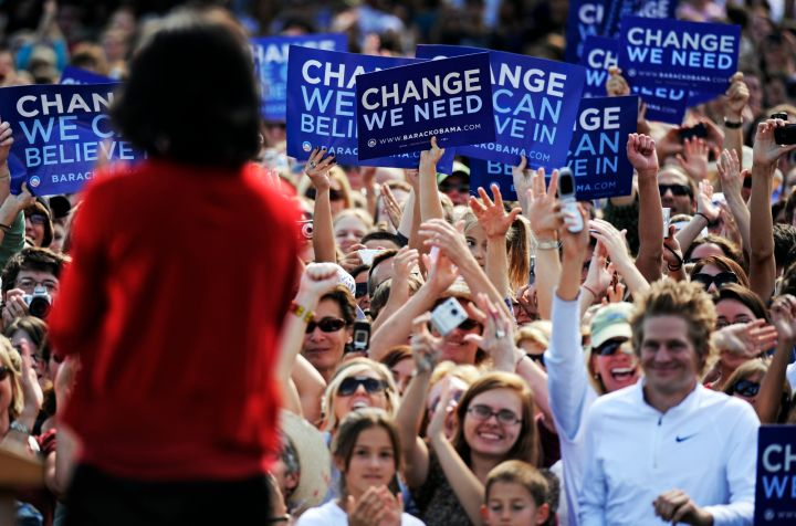 MOBAMA01-- Supporters welcome Michelle Obama, wife of Democratic Party presidential nominee Sen. Barack Obama to the University of Colorado Boulder Campus on Wednesday for a voter registration event titled 'Change We Need Rally with Michelle Obama.' RJ Sa