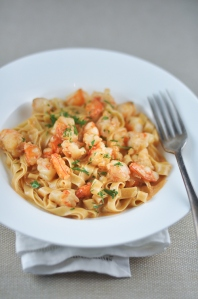 Prawn Pasta With Bisque Sauce