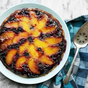 Blueberry Peach Upside Down Cake