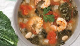 Shrimp, Tomato, and Kale Soup
