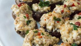 Cheesy Spicy Sausage Stuffed Mushrooms