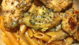 Garlic Chicken with Tomato Cream Pasta