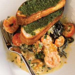 Black Linguine with Gulf Shrimp, Crab, and Cherry Tomatoes
