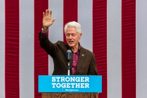 Former U.S. President Bill Clinton Speaks On Behalf Of His Wife Democratic Presidential Nominee Hillary Clinton During A Campaign Event At Keene College.
