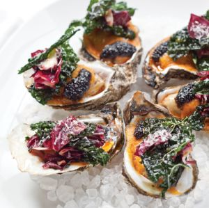 Roasted Oysters with Fried Kale and Parmesan