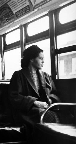 Rosa Parks sitting on a bus in Montgomery, Alabama, 1956.