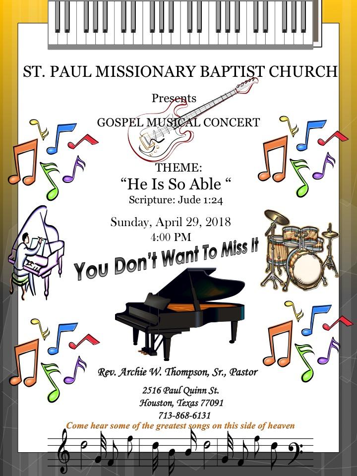St Paul Missionary Baptist Church Annual Music Concert