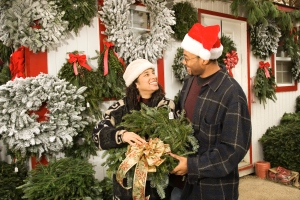 Couple choosing Christmas wreath