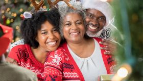 Portrait of happy African American family during the holidays